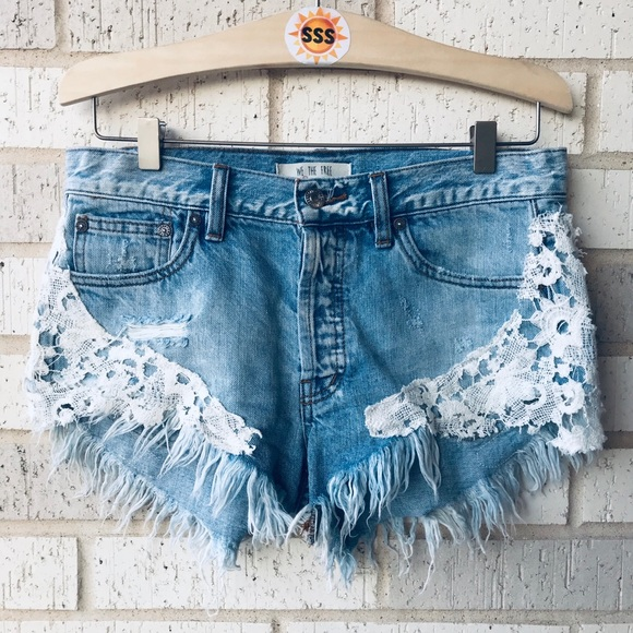 Free People Pants - Free People Lace Raw Distressed Fringe Denim Short
